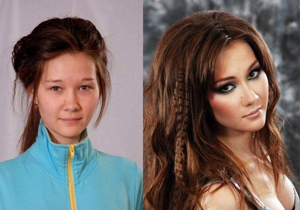 макияж лица до и после