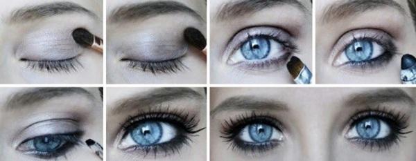 Макияж в школу голубые глаза