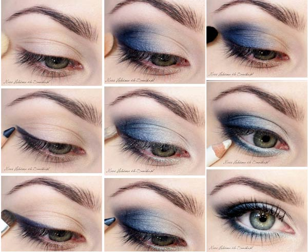смоки айс макияж для голубых глаз
